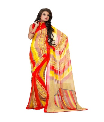 orange printed saree  chiffon saree