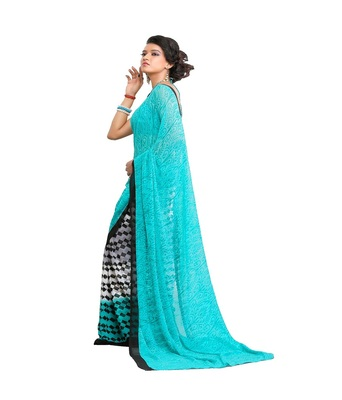 blue printed saree  chiffon saree