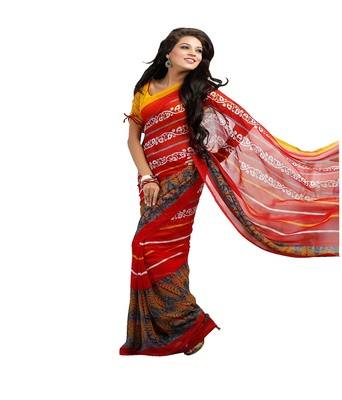 Red printed saree  chiffon saree