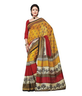 yellow bhagalpuri silk printed-sarees