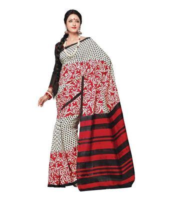 Red bhagalpuri silk printed-sarees