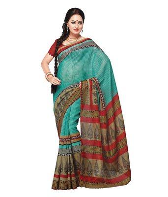 Sky bhagalpuri silk printed-sarees