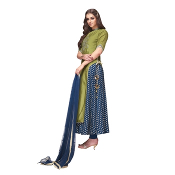 green embroidered chanderi stitched salwar with dupatta