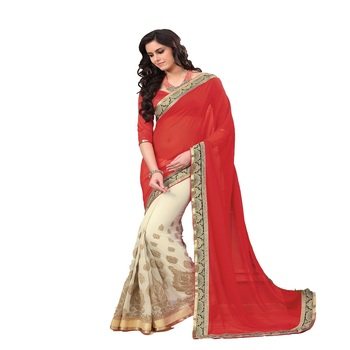 cream and red Georgette Designer Saree With Blouse Piece
