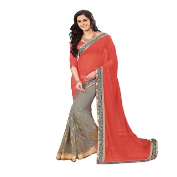 grey and red Georgette Designer Saree With Blouse Piece