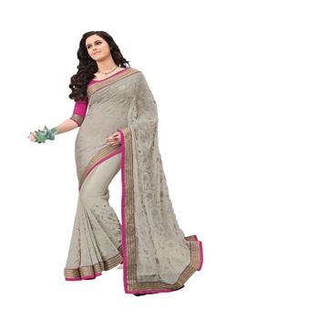 gray Georgette Designer Saree With Blouse Piece