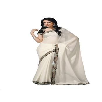 cream art chiffon Designer Saree With Blouse Piece