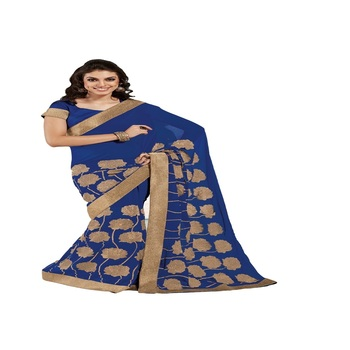 Navy Blue Georgette Designer Saree With Blouse Piece