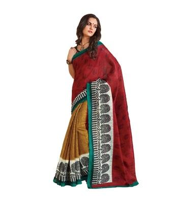 maroon bhagalpuri silk saree