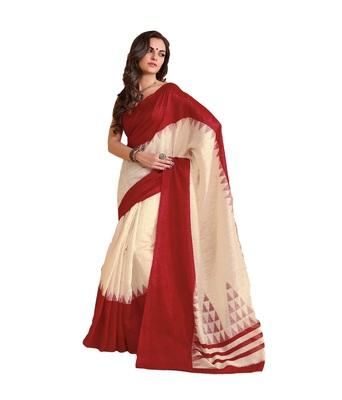 Red bhagalpuri silk saree