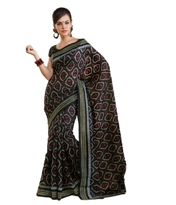 black bhagalpuri silk saree