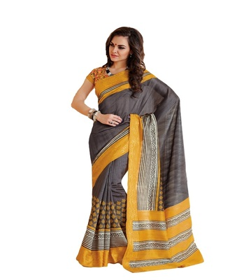 yellow bhagalpuri silk saree