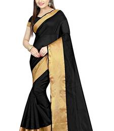 Buy Black printed cotton silk saree with blouse below-400 online