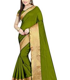 Buy Dark parrot green printed cotton silk saree with blouse below-400 online