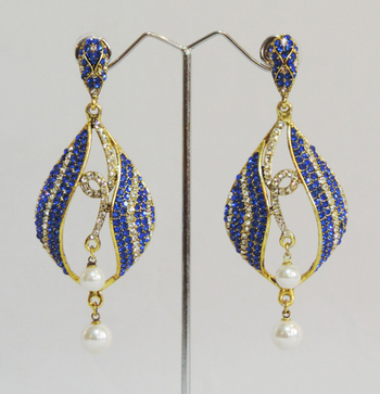 Blue Gold Twin Pearl Teardrop Dangler Earrings