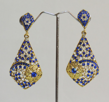 Blue Floral Stones Designer Earrings