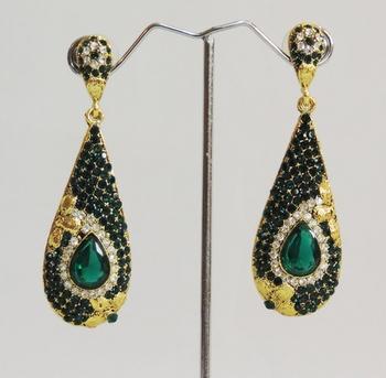 Emerald Green Designer Dangler Drop Earrings