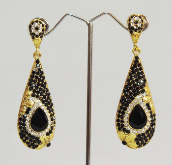 Black Gold Designer Dangler Drop Earrings