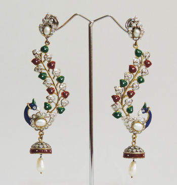 Peacock Antique Pearl Teardrop Jhumka Earrings