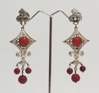 Silver Antique Faux Ruby Teardrop Earrings