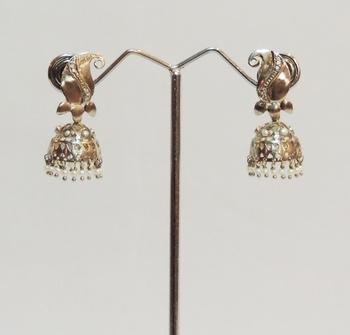 Silver Antique Kairi Pearl Jhaalar Jhumka or Jhumki