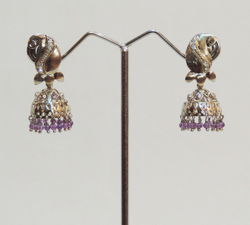 Silver Antique Kairi Purple Jhaalar Jhumka or Jhumki