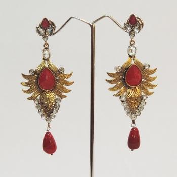 Gold Antique Faux Ruby Teardrop Earrings