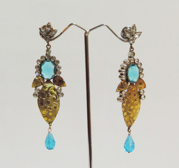 Gold Antique Aqua Blue Crystal Teardrop Earrings