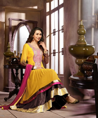 Yellow Embroidery Pure Georgette Semi Stitched Designer Anarkali Suit