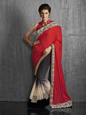 Red Crepe Jacquard Designer Saree