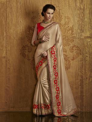 Gold Crepe Jacquard Designer Saree