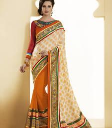 Divine Orange Jacquard Designer Saree shop online