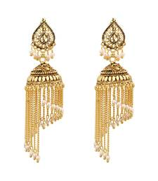 Gold Plated Chandelier Jhalar Jhuumki/Earrings with White Beads For Women And Girls