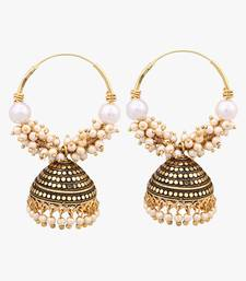 Gold Plated Jhuumki/Earrings with White Beads For Women And Girls