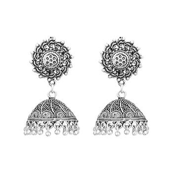 Germen Silver Oxidised Handmade Jhumki/Earrings For Womens  and  Girls
