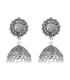 Germen Silver Oxidised Handmade Jhumki/Earrings For Womens  and  Girls