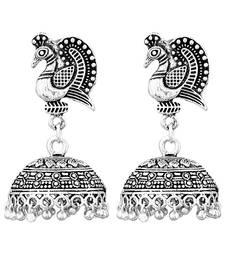 Peacock Inspired Germen Silver Oxidised Handmade Jhumki Earrings For Womens  and  Girls