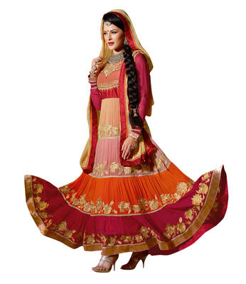 Spectacular Multi Layered Embroidered Georgette Anarkali