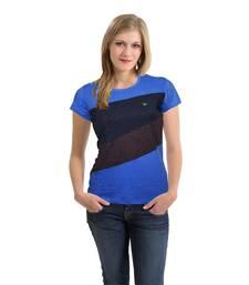 Buy Women   s Front Cut & Sew Panel T-Shirt Blue Melange party-top online