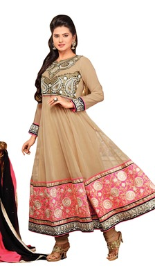 Outstanding Embroidered Faux Georgette Anarkali