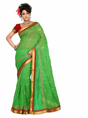 Style Green royal brasso and plain net saree.