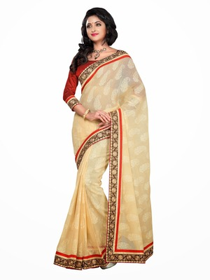 Style Beige royal brasso and fancy look saree.