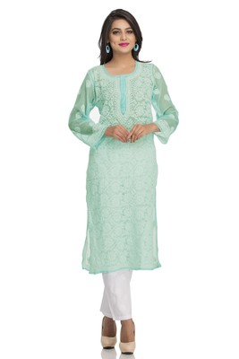 Sea green  embroidered stitched georgette-kurtis