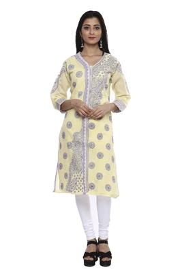 Ada Lemon Hand embroidered Chikankari cotton kurtis