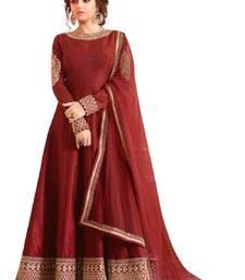 Buy Maroon embroidered bhagalpuri silk salwar with dupatta semi-stitched-salwar-suit online