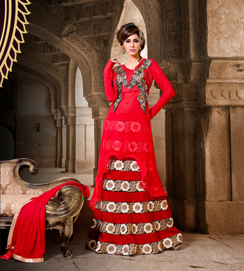 Red Color Designer Anarkali Suit On Georgette