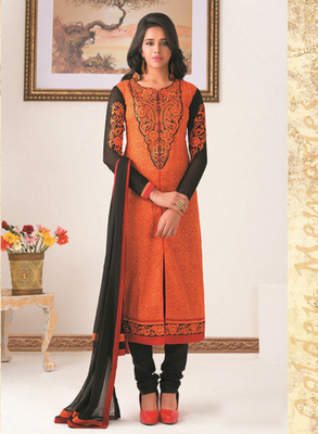 Orange Color Straight Cut Suit This Suit Has Embroidery Work
