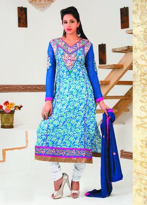 Blue Color Straight Cut Suit This Suit Has Floral Embroidery Work