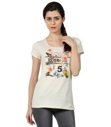 Buy Women offwhite sigle jersey neps printed t shirt party-top online