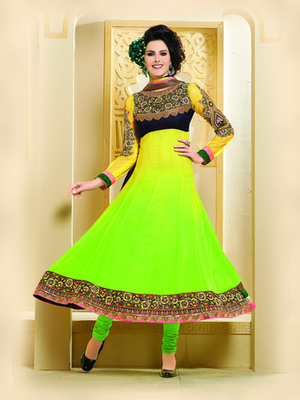 Yellow & Parrot Green Color Designer Anarkali Suit On 60 Gm Georgette Fabric